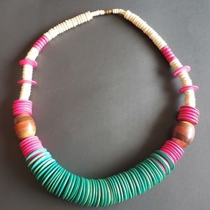 Wooden Bead Necklace with Pink, Teal, Wood Beads